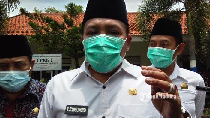 Bupati Sampang Slamet Junaidi saat ditemui di Kantor Kecamatan Torjun, Kabupaten Sampang, Madura, Selasa (9/2/2021).