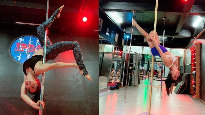 Gaya Dewi Perssik Bergelantungan di Tiang Pole Dance, Pakai Sport Bra dan Hot Pants, Menari Erotis?