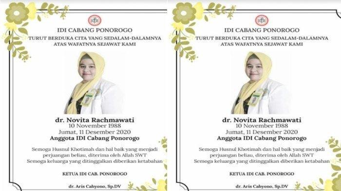 Dokter di Kabupaten Ponorogo Positif Covid-19 Meninggal Bersama Janin 7 Bulan yang Dikandungnya