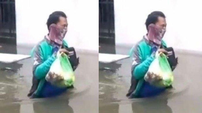 Totalitas, Aksi Driver Ojol Rela Terobos Banjir Demi Antar Pesanan Pelanggannya, Banjir Sepinggang