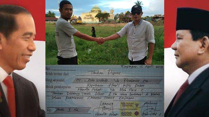 Alamak, Pendukung Jokowi dan Prabowo Taruhan Satu Hektar Tanah Viral di Media Sosial Facebook (FB)