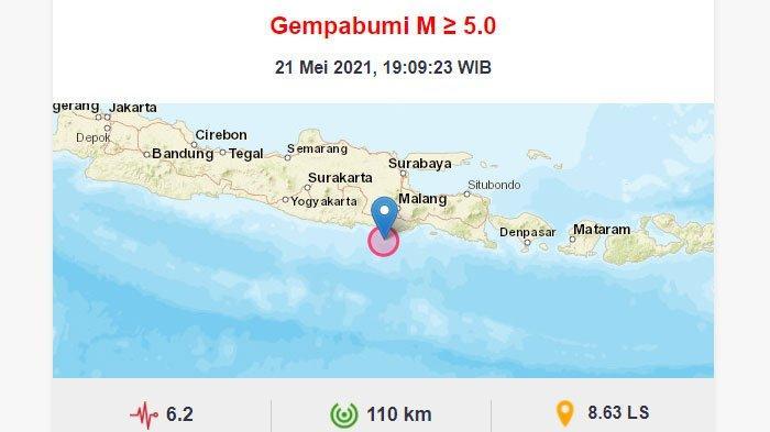 Gempa Blitar pada Jumat (21/5/2021) malam.