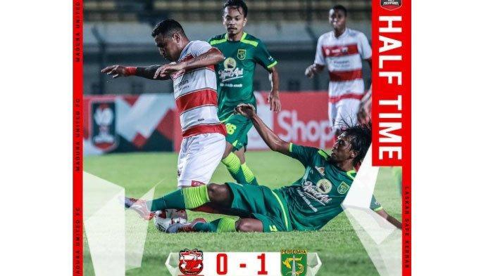 Hasil Babak Pertama Madura United Vs Persebaya, Laskar Sapeh Kerrab Tertinggal dari Bajul Ijo