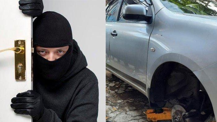 Gondol 4 Ban Mobil, Pencuri ini Gantikan Roda Kendaraan Korbannya Pakai Batako, Polisi: Ada-Ada Saja