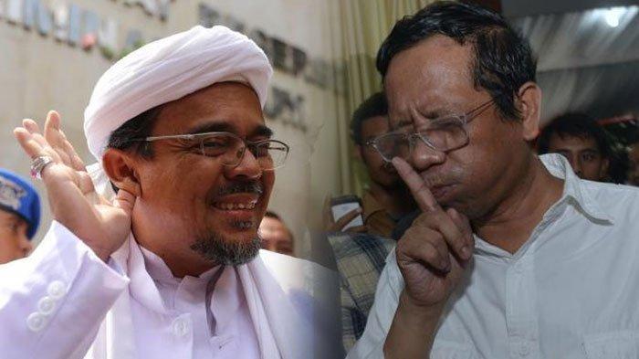 Imam Besar FPI Habib Rizieq dan mantan ketua Mahkamah Konstitusi Mahfud MD