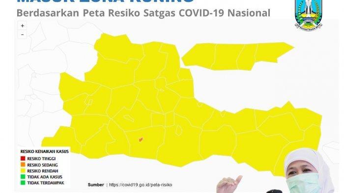 Seluruh Daerah di Jatim Sudah Zona Kuning Kecuali Kota Blitar Masih Oranye, Ini Pesan Gubernur