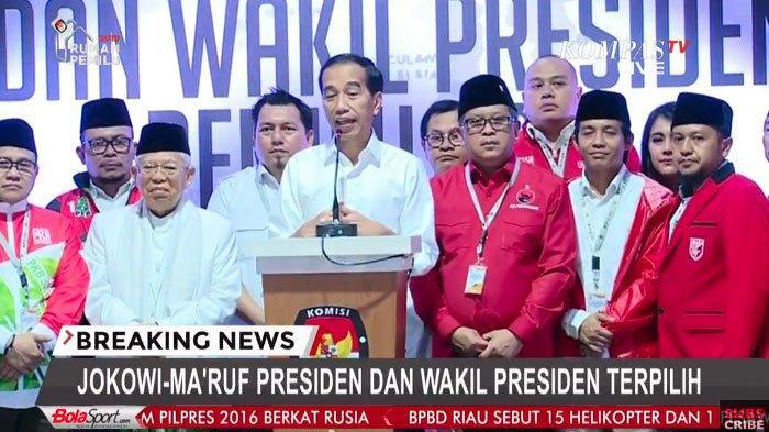 SAH! Jokowi dan Maruf Amin Resmi Menjadi Presiden dan Wapres Terpilih Periode 2019-2024