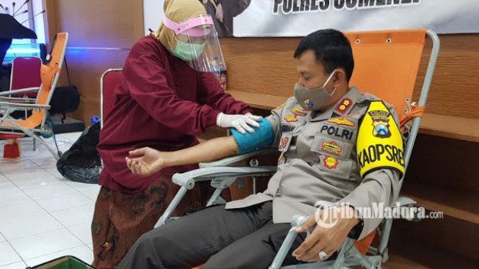 Sambut HUT Bhayangkara Ke-74, Polres Sumenep Gelar Bakti Sosial Donor Darah