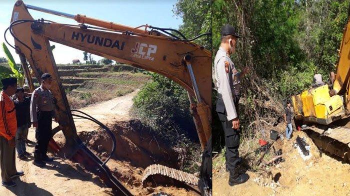 Ekskavator Terjatuh dari Truk di Perbatasan Desa Banyupelle & Palengaan Laok, Gegara Ban Terperosok