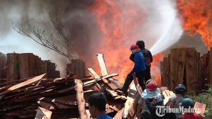 Diduga karena Sisa Pembakaran Jerami,Gudang Penjemuran Kayu Terbakar, Pemilik Merugi Ratusan Juta