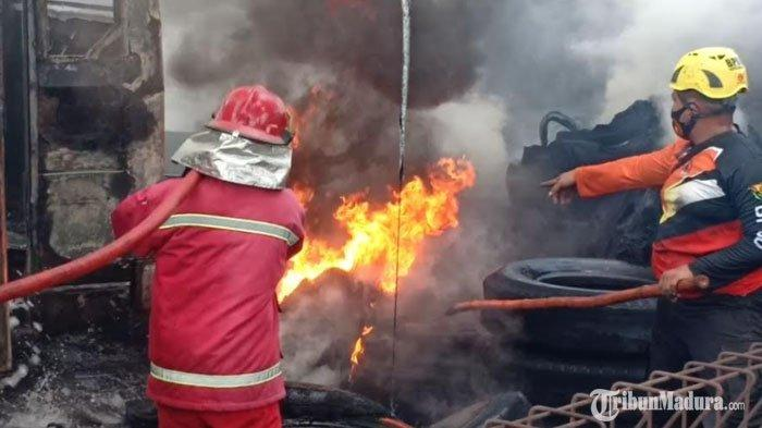 Kebakaran di Garasi Bus Cendana Kota Madiun, Diduga Berasal dari Percikan Api Alat Las Body Bus