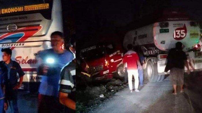 Kecelakaan Bus Sumber Selamat Vs Truk Pertamina, Bus Berhenti Mendadak, Sopir Truk Kurang Fokus