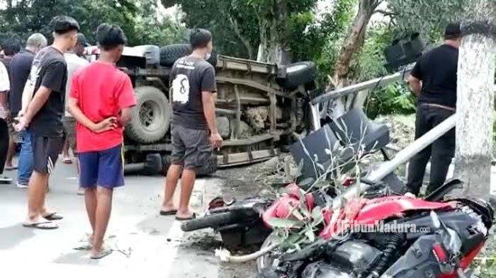 Hilang Kendali, Mobil Tabrak Tiga Sepeda Motor di Kabupaten Kediri, Dua Orang Meninggal di Lokasi