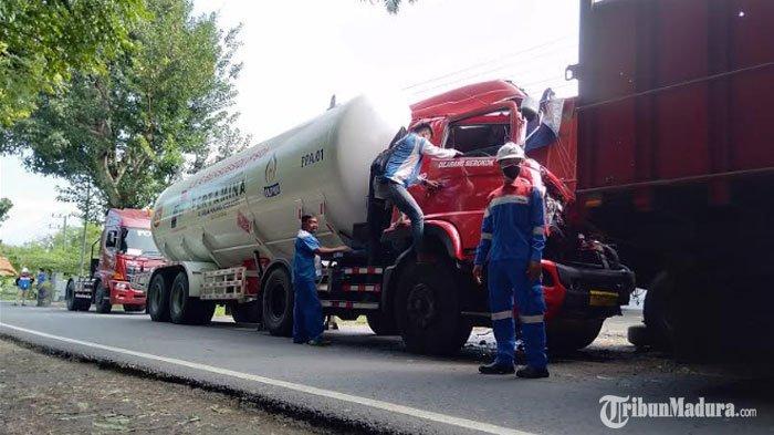 Polisi Sebut Kecelakaan Truk Tangki Pertaminadan Truk Fuso di Sampang Disebabkan Kesalahan Sopir