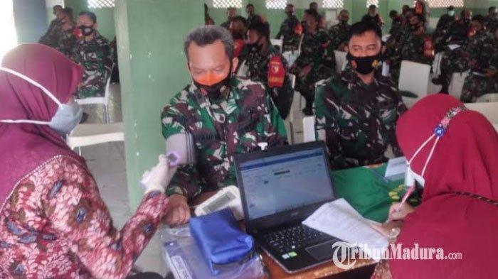 Vaksinasi Covid-19 untuk Anggota Kodim 0829 Bangkalan Tahap Pertama Dibagi Menjadi Dua Gelombang