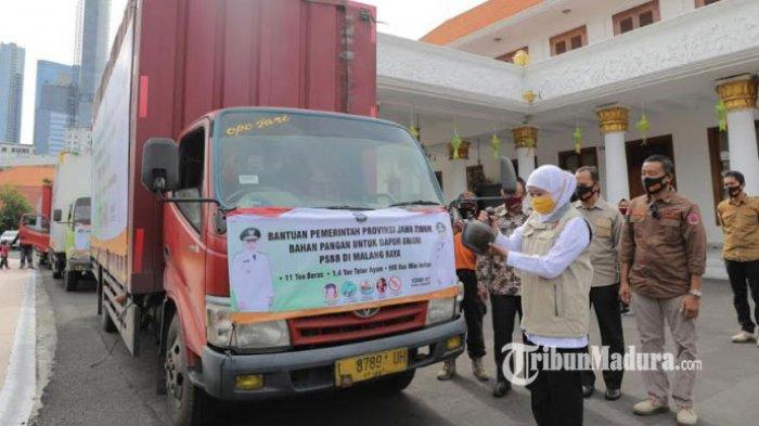 Jelang PSBB Malang Raya, Pemprov Jatim Kirim Bantuan Sembako 3 Truk untuk Dapur Umum