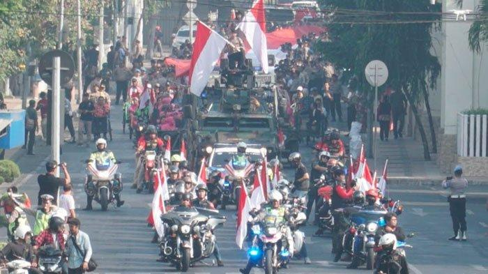 SambutHari Kebangkitan Nasional,Polrestabes Surabaya Gelar Kirab Merah Putihke Tugu Pahlawan
