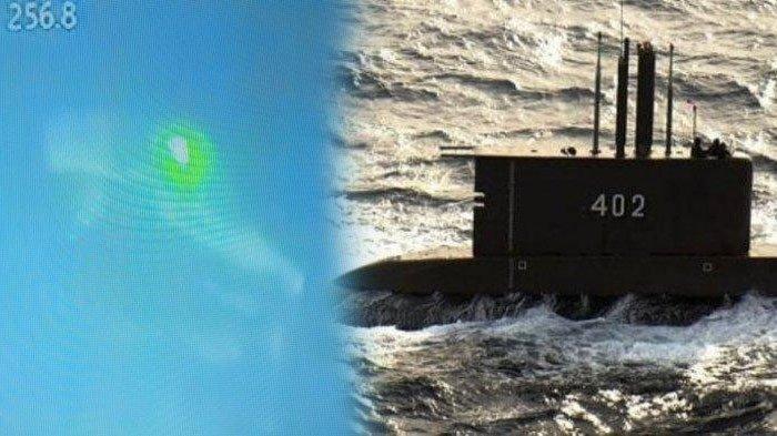 (kiri) Kondisi puing kapal selam KRI Nanggala 402 yang ditemukan di perairan Bali Utara, seluruh awak kapal dipastikan gugur