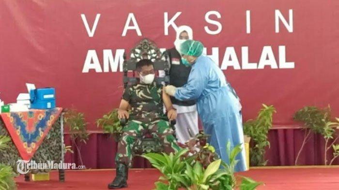 Vaksinasi Covid-19 di Sumenep, Dandim Letkol Inf Nurcholis Jadi Orang Pertama Disuntik Vaksin Corona