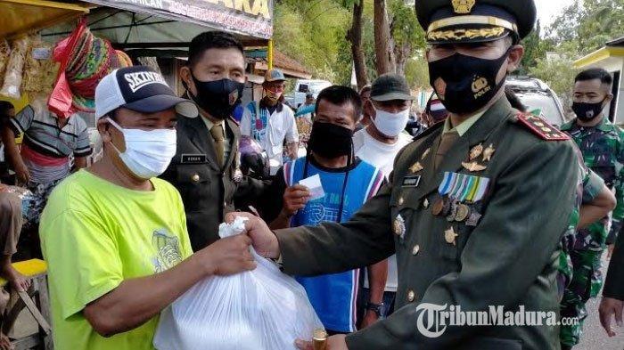 HUT TNI ke-75, Kodim 0826 Pamekasan Bagikan 500 Paket Sembako ke Warga Kurang Mampu & Tukang Becak