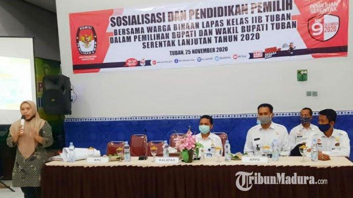 Minim Informasi Pilkada Tuban, Ratusan Warga Binaan Lapas II Tuban Ikuti Sosialisasi KPU
