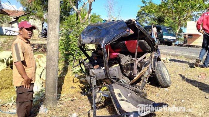 Kondisi mobik Pikap saat diangkut oleh mobil derek milik Satlantas Polres Pamekasan, Kamis (22/10/2020).