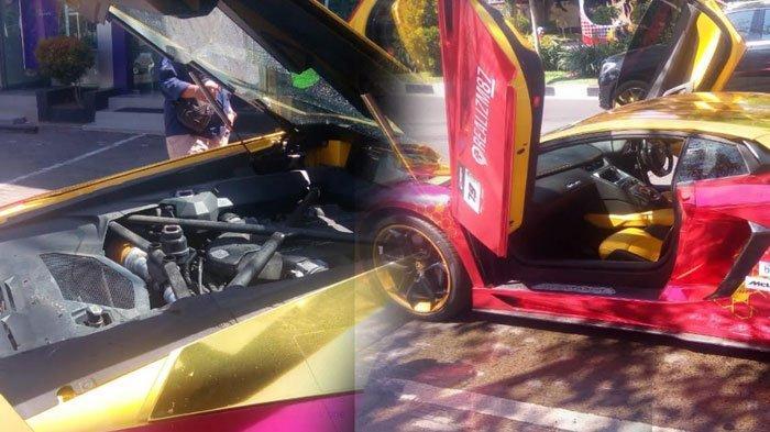 Asap Tebal Mengepul dari Mobil Lamborghini di Surabaya, Pengemudi Langsung Keluar dan Panik