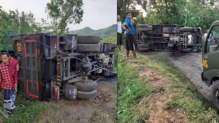 Dump Truk Bermuatan Aspal Terguling di Kecamatan Pegantenan Pamekasan, Alami Kerugian 9 Ton Aspal