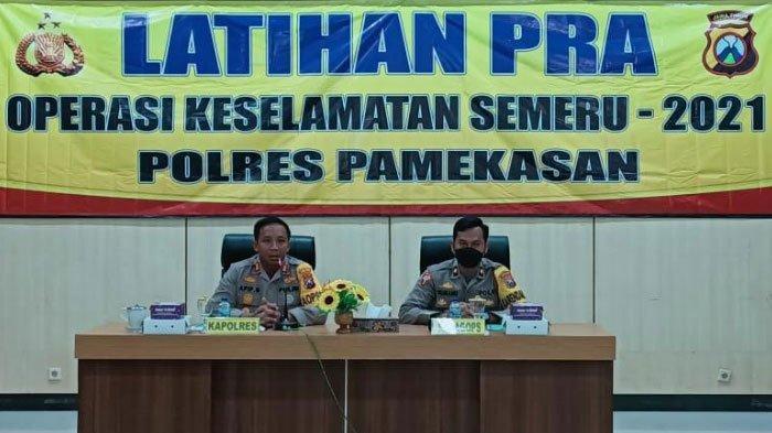 Antisipasi Pembatasan Mudik, Polres Pamekasan Gelar Latihan Pra Operasi Keselamatan Semeru 2021