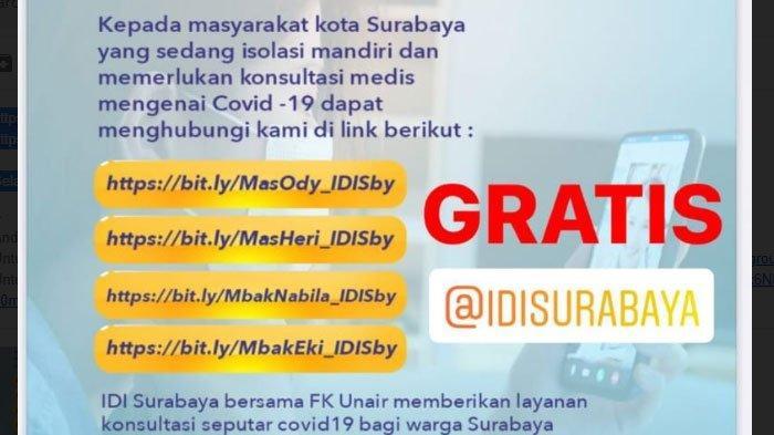 FK Unair dan IDI Surabaya Buka Layanan Konsultasi Dokter Gratis untuk Pasien Isoman, Simak Caranya
