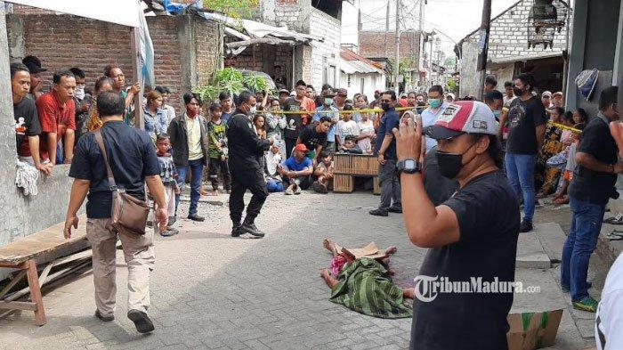 Lokasi pembacokan yang menewaskan DM (36) di Jalan Simojawar, Kota Surabaya, Rabu (10/3/2021).