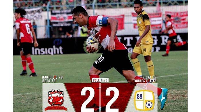 Nyaris Kalah di Kandang Sendiri,Madura United Ditahan ImbangBarito Putera dengan Skor Akhir 2-2