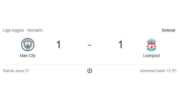 Big Match Liverpool Vs Manchester City Berakhir Imbang 1-1, Diwarnai Penalti dan Rekor M Salah