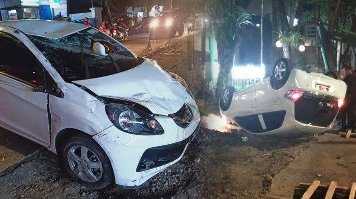 Akibat Ngantuk, Mobil Honda Brio Terbalik di Depan Hotel, Sempat Hantam Pengendara Honda Scoopy