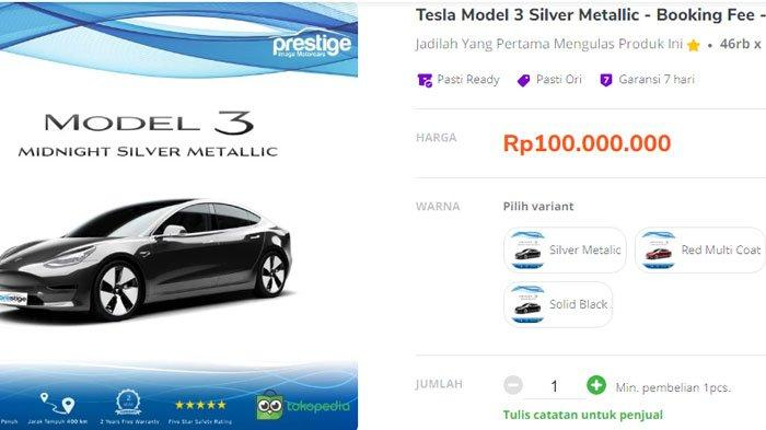 Mobil Listrik Tesla Kini Bisa Dipesan di Tokopedia, Tesla Varian Termurah Juga Tersedia