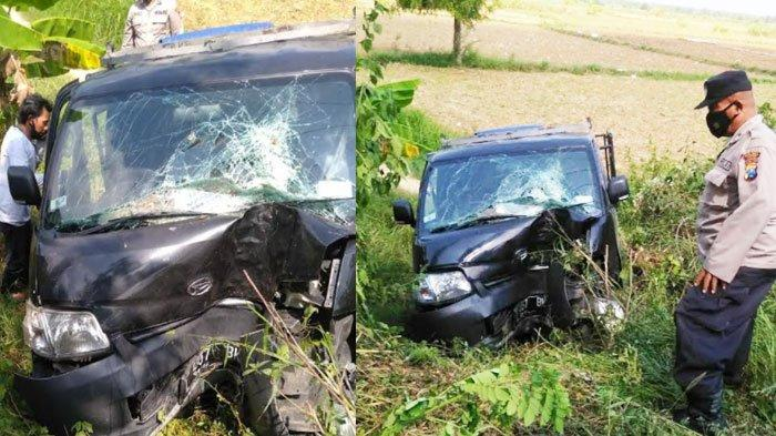 Pikap Daihatsu Alami Kecelakaan Tunggal di Jrengik Sampang, Nyungsep ke Sawah setelah Hantam Pohon