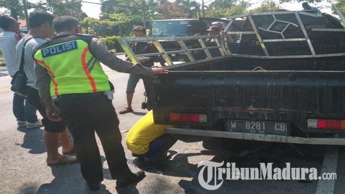 Pecah Ban, Mobil Pikap Muatan Ikan Bandeng Terbalik di Jalan Nasional Surabaya-Lamongan