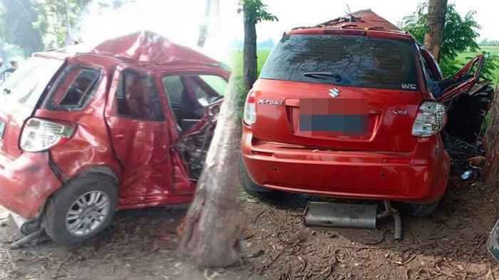 Kendarai Mobil Suzuki Sambil Mengantuk, Pegawai Bank Daerah Hantam Pohon, Sempat Melaju Zig-Zag