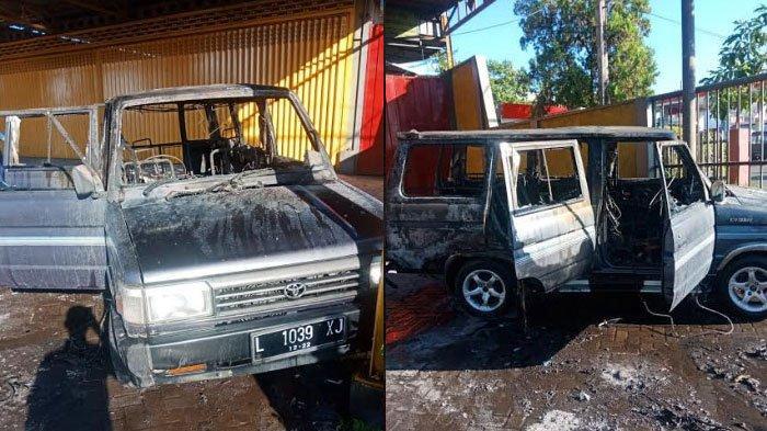 BREAKING NEWS - Toyota Kijang Nopol Surabaya Terbakar di Kab Malang, Satu Orang Luka Bakar