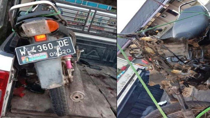 Motor yang terlibat kecelakaan di Jalan Raya Jokotole, Kelurahan Barurambat Kota, Kabupaten Pamekasan, Madura, Jumat (5/2/2021) sekitar pukul 04.00 WIB.