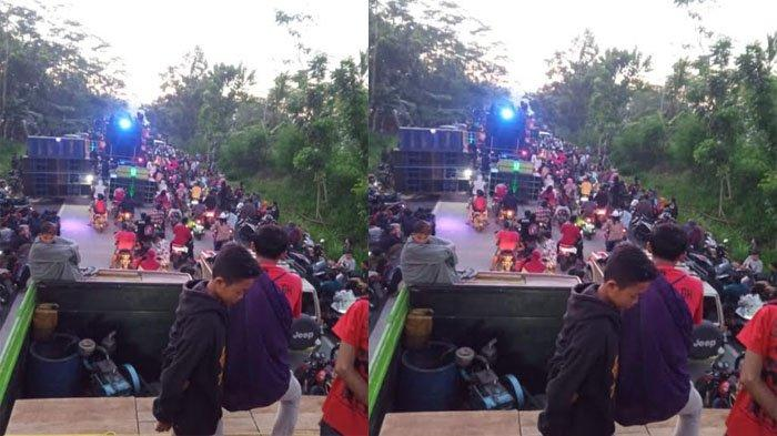 Kerumunan di Jalan Lintas Selatan Lumajang, Truk Sound System Beradu Suara Kencang, Viral di Medsos