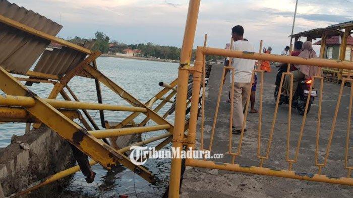 Pagar Dermaga Pelabuhan Kalianget, Sumenep Ambruk Beruntung Tidak Ada Korban Jiwa