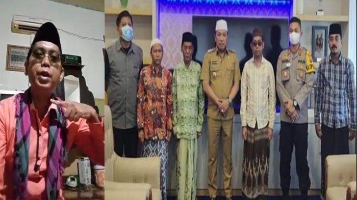Hasil screenshot dari video ancaman Turmudi yang viral di media sosial dan Lora Mastur (tiga dari kanan berkacamata) saat menyerahkan diri ke Polres Sampang, Madura, Senin (8/3/2021).
