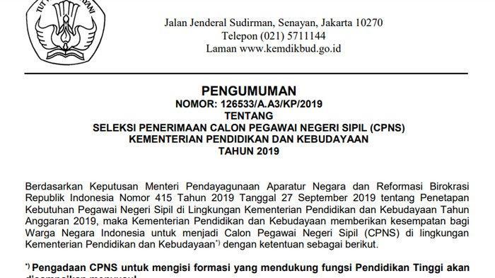 47++ Formasi cpns kemendikbud 2019 lulusan sma info