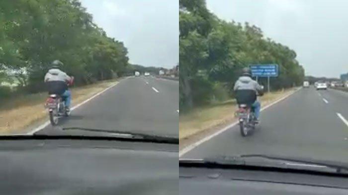 Pengendara Motor Bebek Melintas di Jalan Tol Romokalisari Tersesat Gara-Gara GPS, Videonya Viral