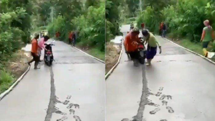VIRAL Pengendara Motor Nekat Terobos Jalan Cor Semen Basah, Rodanya Terjepit, Ending Ditolong Warga