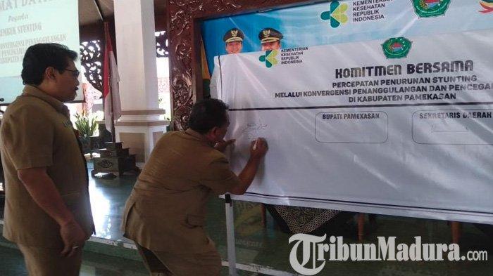 Angka Stunting di Pamekasan Tertinggi Nomor Dua di Jatim, Pemkab Gelar Rembuk dan Tandatangan Banner