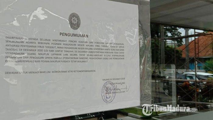 20 Pegawai Positif Covid 19, Kantor Pengadilan Negeri Malang Kelas IA Ditutup Sementara