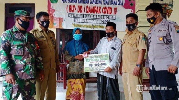 Penyaluran BLT DD di Desa Sana Laok Pamekasan Diawasi TNI-Polri, Protokol Kesehatan Diterapkan