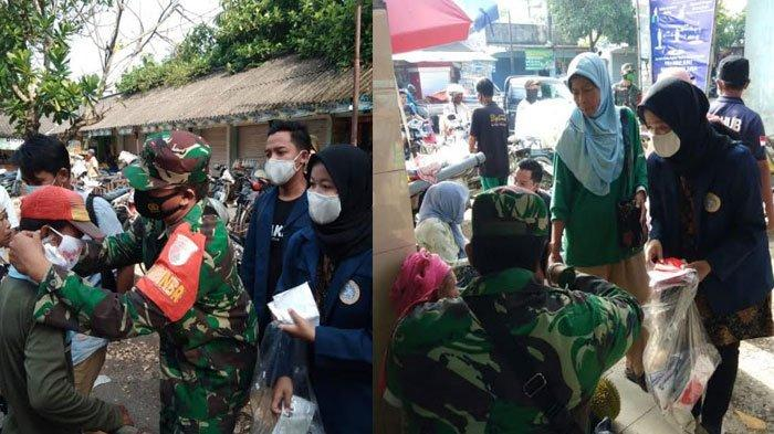 Kolaborasi Kodim Pamekasan dan Mahasiswa KKN Unair, Bagikan 620 Masker & Edukasi Prokes ke Pedagang